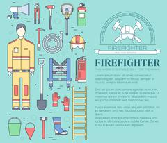 Flat firefighter uniform and first help equipment set and instruments. On flat - stock illustration