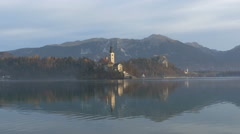 Lake Bled with the Church of the Assumption of Maria, Bled Stock Footage