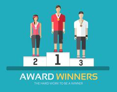 Award winners in flat design background concept. Rewarding athletes on the Stock Illustration