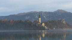 Lake Bled with the Pilgrimage Church of the Assumption of Maria, Bled Stock Footage