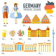 Country Germany travel vacation guide of goods, places and features. Set of Piirros