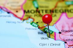 Ulcinj pinned on a map of Montenegro - stock photo