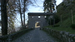 Arch gate next to the Bled Castle, Bled Stock Footage
