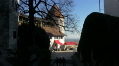 Tourists walking in the courtyard of Bled Castle, Bled Stock Footage