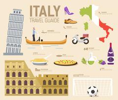 Country Italy travel vacation guide of goods, places and features. Set of - stock illustration