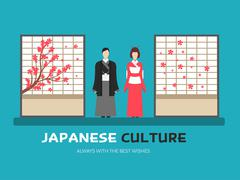 Japanese culture in flat design background concept. Japan married couple around - stock illustration