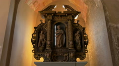 Beautiful decoration inside the Bled Castle Chapel, Bled Stock Footage