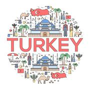 Country Turkey travel vacation guide of goods, places and features. Set of Stock Illustration