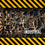 mechanical realistic rusty gears attention behind danger warning attention tape - stock illustration