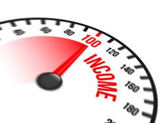 Speedometer Focused on a Hundred Percent Income - stock illustration
