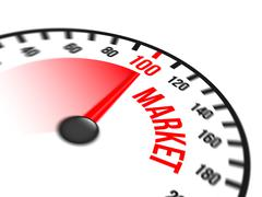 Speedometer Focused on a Hundred Percent Market Stock Illustration