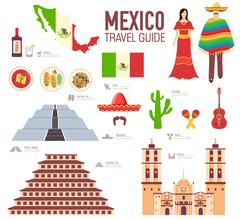 Stock Illustration of Country Mexico travel vacation guide of goods, places and features. Set of