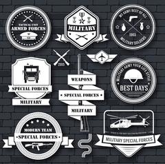 military army set label template of emblem element for your product, logo or - stock illustration