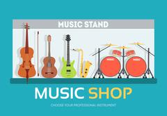Music shop in flat design background concept.  Stand with musical instruments - stock illustration