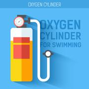 Oxygen cylinder for swimming.  Vector icon illustration background. Colorful - stock illustration