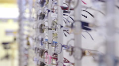 Exhibition of eyeglasses store close up 4K Stock Footage