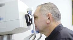 Senior person check eyesight 4K - stock footage