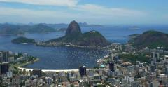 Panoramic View of Rio de Janeiro Cityscape with Sugarloaf Mountain, Brazil Stock Footage