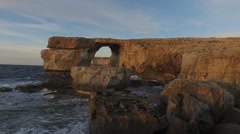 Azure Window, famous stone arch on Gozo Island, Malta. Stock Footage