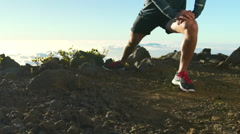 Young Man Working Out in Nature. Slow Motion HD. Healthy Outdoor Lifestyle. - stock footage