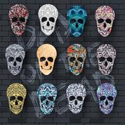 Set skull for the illustrations concept on day of the dead. Vector template - stock illustration
