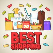Many object purchased in the shop. Shopping abstract background concept. In flat Stock Illustration