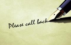 Pen writing please call back - stock photo