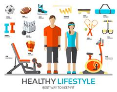 Sport life stile infographic with gym device, equipment and items. Training Stock Illustration