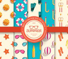 collection set of summer vacation seamless pattern. Beach umbrella, lifebuoy - stock illustration