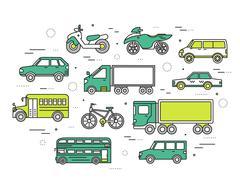 Transportation concept set icons illustration in thin lines style design - stock illustration