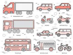 Transportation concept set icons illustration in thin lines style design Stock Illustration