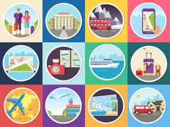 Set tourism with fast travel of the world concepts infographic. Vacation tour - stock illustration