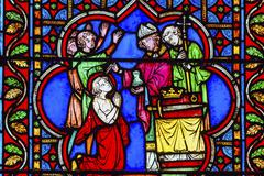 Bishop Blessing King Paris Stained Glass Notre Dame Cathedral Paris France.   Stock Photos