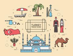 Country Turkey travel of goods, places and features in thin lines style design - stock illustration