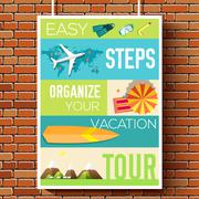 Easy steps organize for your vacation tour flyer with infographics and placed Stock Illustration