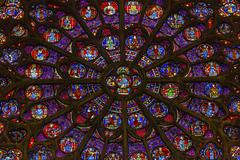 South Rose Window Jesus Christ Stained Glass Notre Dame Cathedral Paris Franc - stock photo