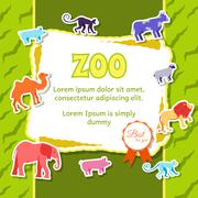 Zoo animals elements on green background poster in sticker style design. Vector - stock illustration
