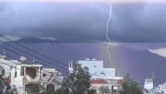 Lightning strikes in the same place three times during the day in the city. Stock Footage