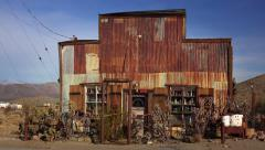 Tin Sided Building in Ghost Town of Randsburg, California Stock Footage