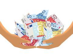 Euro Cash Haul on White (Vector) - stock illustration