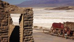 Stock Video Footage of Twenty Mule Team Wagon in Death Valley