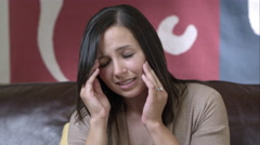 Woman stressed with head pain. - stock footage