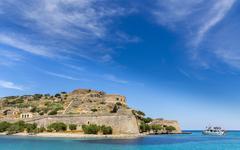 Fortress on uninhabited Greek island of Spinalonga or Kalydon Gulf of Mirabello - stock photo
