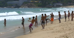 Locals Playing Ball at Ipanema Beach in Rio de Janeiro, Brazil Stock Footage