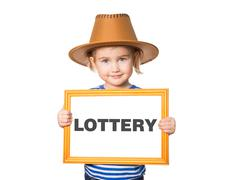 with blackboard. Text LOTTERY. - stock photo