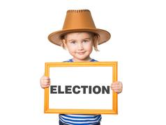 With blackboard. Text ELECTION. Stock Photos