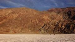 Tourists on the Salt Flats at Badwater Basin in Death Valley Stock Footage