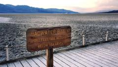 Salt Flats at Badwater Basin in Death Valley Stock Footage