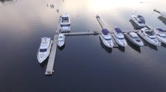 Flight over water and yatch Stock Footage