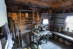 Suzdal, Russia - November 06, 2015.  interior of peasant houses in  Museum Stock Photos